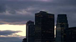 New York City Skyline Silhouette and Dark Clouds Timelapse