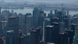 New York City Sweeping Aerial to Empire State Building
