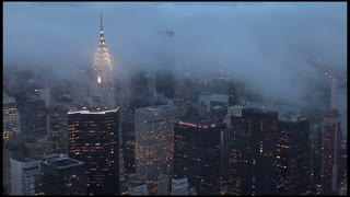 new york cityscape skyline cloudy foggy day aerial view