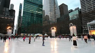 New York, New York City, Manhattan, Ice Skating rink in Bryant Park at Christmas, United States of America,
