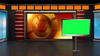 News TV Studio Set 01 - Virtual Green Screen Background Loop