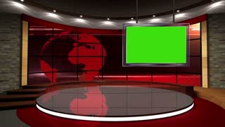 News TV Studio Set 02 - Virtual Green Screen Background Loop