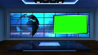 News TV Studio Set 03 - Virtual Green Screen Background Loop