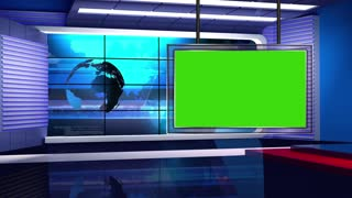 News TV Studio Set 14 - Virtual Green Screen Background Loop
