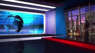 News TV Studio Set 16 - Virtual Green Screen Background Loop