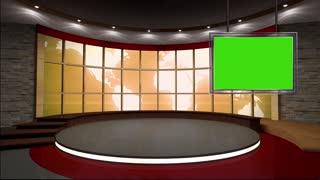 News TV Studio Set 17 - Virtual Green Screen Background Loop