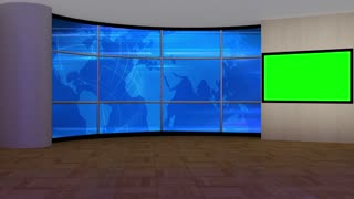 News TV Studio Set 177- Virtual Green Screen Background Loop