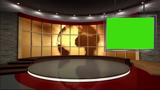 News TV Studio Set 18 - Virtual Green Screen Background Loop