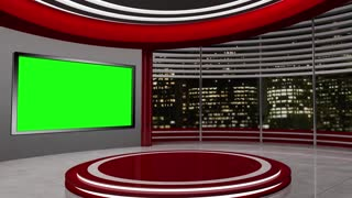 News TV Studio Set 23-Virtual Green Screen Background Loop