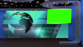News TV Studio Set 28 - Virtual Green Screen Background Loop