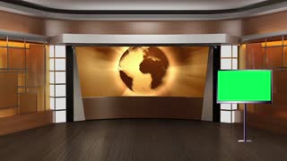 News TV Studio Set 37-Virtual Green Screen Background Loop
