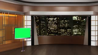 News TV Studio Set 38-Virtual Green Screen Background Loop