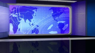News TV Studio Set 47 - Virtual Green Screen Background Loop
