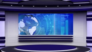 News TV Studio Set 61 - Virtual Green Screen Background Loop