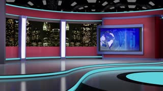 News TV Studio Set 64 - Virtual Green Screen Background Loop