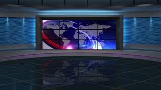 News TV Studio Set 65- Virtual Green Screen Background Loop