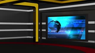 News TV Studio Set 69 - Virtual Green Screen Background Loop