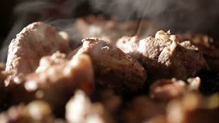 Nice pieces of meat are fried on the barbecue. Shallow dof.