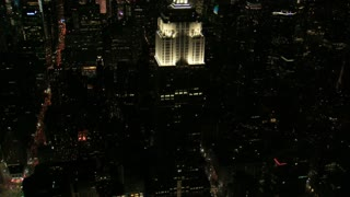 Night Aerial Circling Empire State Building