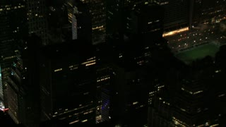 Night Aerial Pan Times Square to Empire State Building