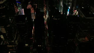 Night Aerial View Rotating Around to Times Square