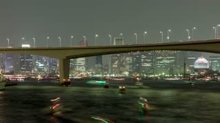Night Boats Time Lapse Tokyo Bay