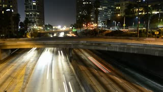 Night Downtown Los Angeles Overpass