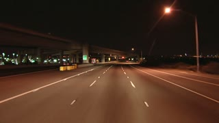 Night Driving On Overpass