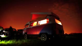 Night party time lapse. Vw retro minibus at night. Nightlife. Disco party. Retro car