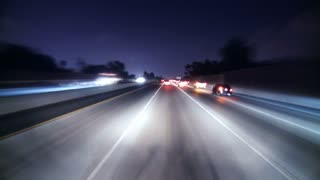 Night Speeding Highway Lights Timelapse