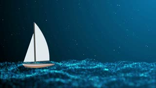 Night stormy sea and lonely small sailboat. Animation Ultra High Definition 4K seamless loop video.