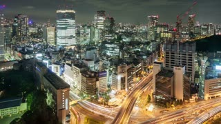 Night Time Lapse Cityscape Tokyo Japan