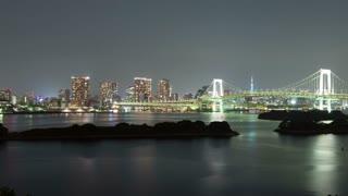 Night Time Lapse Tokyo Rainbow Bridge