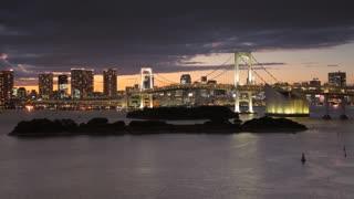 Night Time-Lapse Tokyo Rainbow Bridge