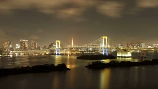 Night to day to night, 36 hour transitions looking towards the Rainbow Bridge and Tokyo Bay, with the Tokyo Tower in view, Odaiba district, Tokyo, Japan, Asia - T/Lapse