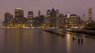 Night to day view of the skyscrapers of Manhattan from the Brooklyn Heights neighborhood, United States of America, New York, Time-lapse