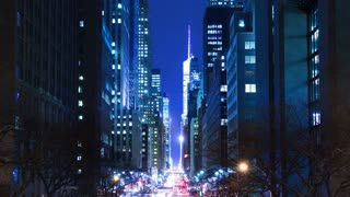 Night Traffic on E42nd Street. Time Lapse 4K