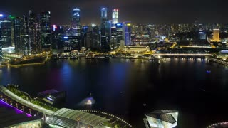 Night view over Central Singapore and Marina Bay, Singapore, South East Asia, Time lapse