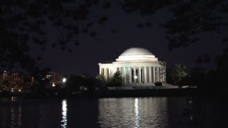 Nightime cherry blossoms and Thomas Jefferson Memorial 2