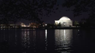 Nightime cherry blossoms and Thomas Jefferson Memorial 3