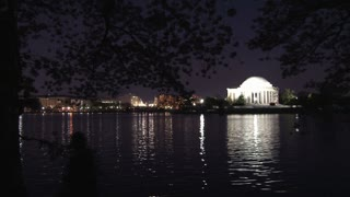 Nightime cherry blossoms and Thomas Jefferson Memorial 6