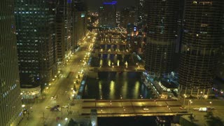 Nighttime Chicago City River Timelapse