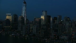 Nighttime Downtown Manhattan Aerial