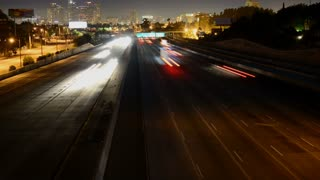 Nighttime Los Angeles City Highway