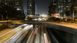 Nighttime Los Angeles Traffic Light Trails