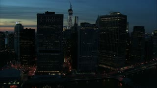 Nighttime Manhattan Financial District Aerial