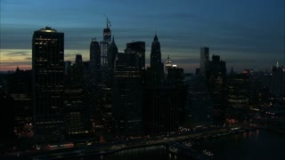 Nighttime Manhattan Freedom Tower Landscape Aerial