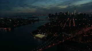 Nighttime NYC Manhattan Aerial