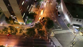 Nighttime Road Work Aerial Time Lapse