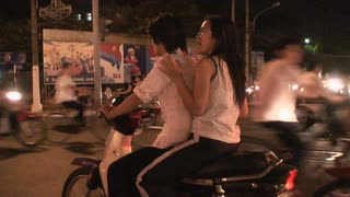 Nighttime Vietnam Motor Scooter Ride